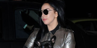 Lady Gaga tuta Trussardi autunno inverno 2014 borsa Hermès Kelly