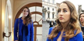 Carlotta Ferlito abito giacca Federica Pittaluga scarpe Diesel pochette Prada