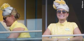 Zara Phillips Tindall Royal Ascot abito Paul Costelloe fascinator Rosie Olivia Millinery