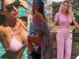 Anna Tatangelo occhiali Victoria's Secret Belen Rodriguez top e gonna Gaelle Bonheur Diletta Leotta top e pantaloni Zara