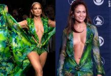 MFW Jennifer Lopez sfilata Versace Jungle Print Dress Grammy Awards 2000