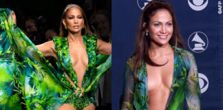 MFW Jennifer Lopez sfilata Versace Jungle Print Dress Grammy Awards 2000