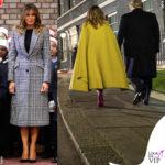 Melania Trump a Londra con cappotti Alexander McQueen e Valentino
